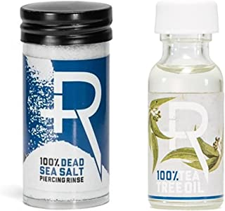 Recovery Piercing Aftercare Sea Salt and Tea Tree Oil Combo - All Natural, Soothing Healing Saline Solution