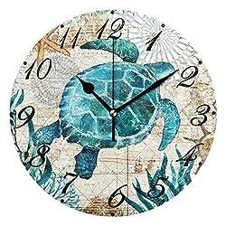 Pfrewn World Map Beach Turtle Wall Clock Silent Non Ticking Under Underwater Animal Starfish Clocks Battery Operated Vintage Desk Clock 10 Inch Quartz Analog Quiet Bedroom Living Room Home Decor