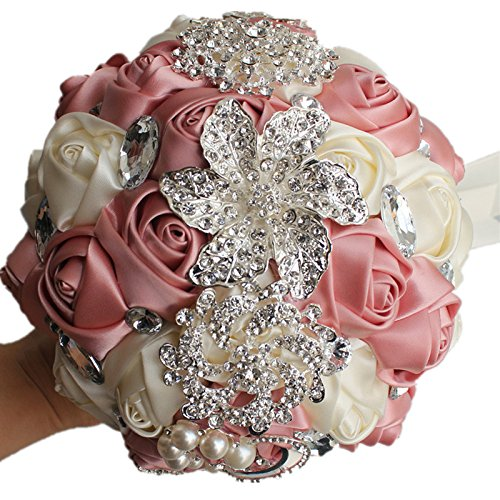 YOYOYU Luxury Gorgeous Wedding Bridal Bouquets Elegant Pearl Bride Flower Wedding Bouquet Handmade Crystal Ribbon Weaths W-228 (Beige+Pink)