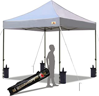 ABCCANOPY Pop up Canopy Tent Commercial Instant Shelter with Wheeled Carry Bag, Bonus 4 Canopy Sand Bags, 10x10 FT Gray