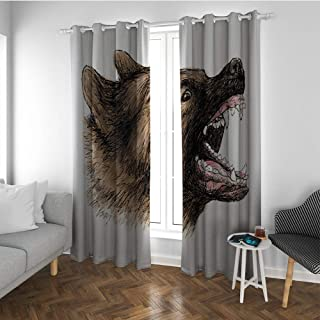 Linhomedecor German Shepherd Bedroom Doorway Curtain Canine Animal with Angry Aggressive Expression Sketch Portrait Sound Asleep Room Curtains Pale Brown Black Pink