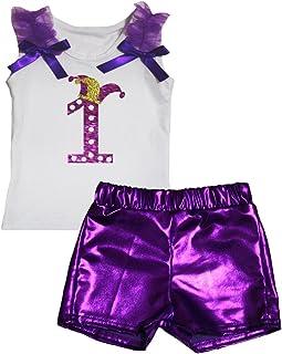 Petitebella Girls' Mardi Gras 1St White Shirt Bling Short Set