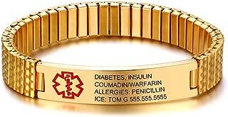 Free Engraving Medical Alert ID Bracelets for Mens Womens 7.9-8.7 Inch Emergency Alert ID Bracelets Bracelets Stainless Steel Medical Alert Bracelets