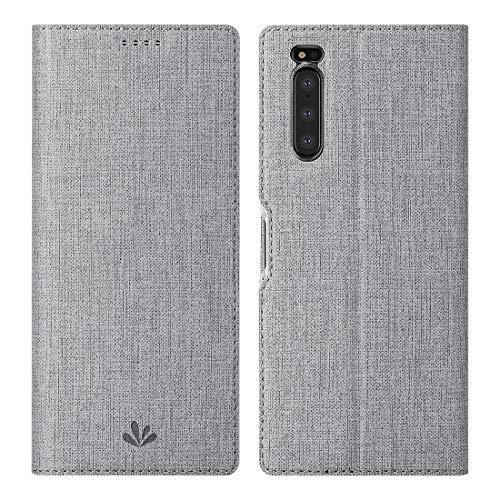Foluu Sony Xperia 5 Hülle, Flip Folio Wallet Case Slim Premium PU Leder Hülle ID Kreditkartensteckplätze Kickstand Magnetverschluss Klar TPU Bumper Cover für Sony Xperia 5 2019 (Grau)