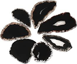 SUNYIK Black Agate Slice Set, Geode Druzy Stone Slab Wholesale, 1