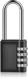 WONDER MASTER Combination Lock 4 Digit Combination Padlock Gate Locks Long Combination Padlock for Gym Sports Locker Hasp Cabinet Fence Toolbox Lock Silver Black Lock