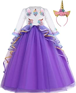 MYRISAM Unicorn Costume Princess Birthday Pageant Party Dance Performance Christmas Fancy Dress Up Long Sleeve Tulle Outfits