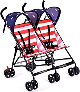Baby Stroller, Baby Car,Twin Baby Ultra Light Two-Child Double Umbrella Size Child Stroller with Mosquito Net Baby Cart (Color : E)