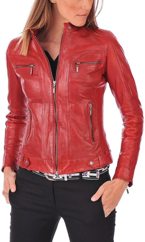 Stylish Womens Biker Slim Fit Sheep Leather Casual Jacket LFW421