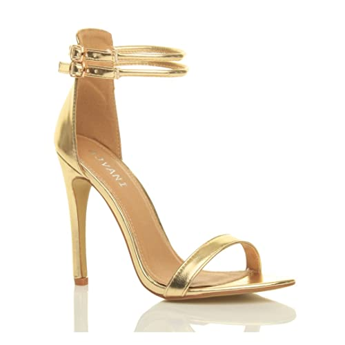 a10d90cab1d3 Womens ladies stiletto high heel barely there double strap buckle party sandals  shoes size