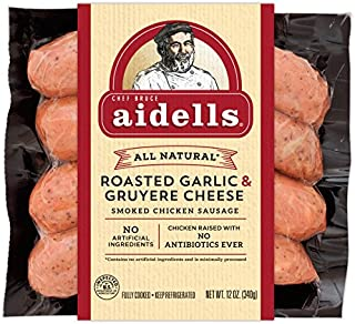 Aidells Smoked Chicken Sausage, Roasted Garlic & Gruyere Cheese, 12 oz. (4 Fully Cooked Links)