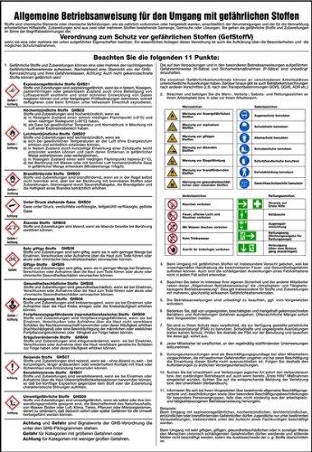 LEMAX® Schild PVC Allg. Betriebsanweisung Umgang mit gefährlichen Stoffen GHS 595x410mm
