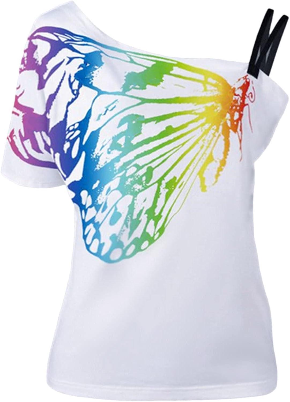 Women's Off Shoulder Tops Plus-Size Butterfly Print T Shirts Trendy Female Blouses Summer Popular Oversize Short Sleeve