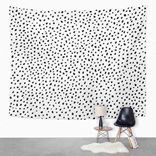 Qamida Simple Tapestry Polka Dot Structure Abstract Many Scattered Pieces Black and White for Tapestry for Bedroom Room Decor Wall Hanging Wall Art Tapestry Picnic Mat Beach Towel Bed Cover 50'x60'