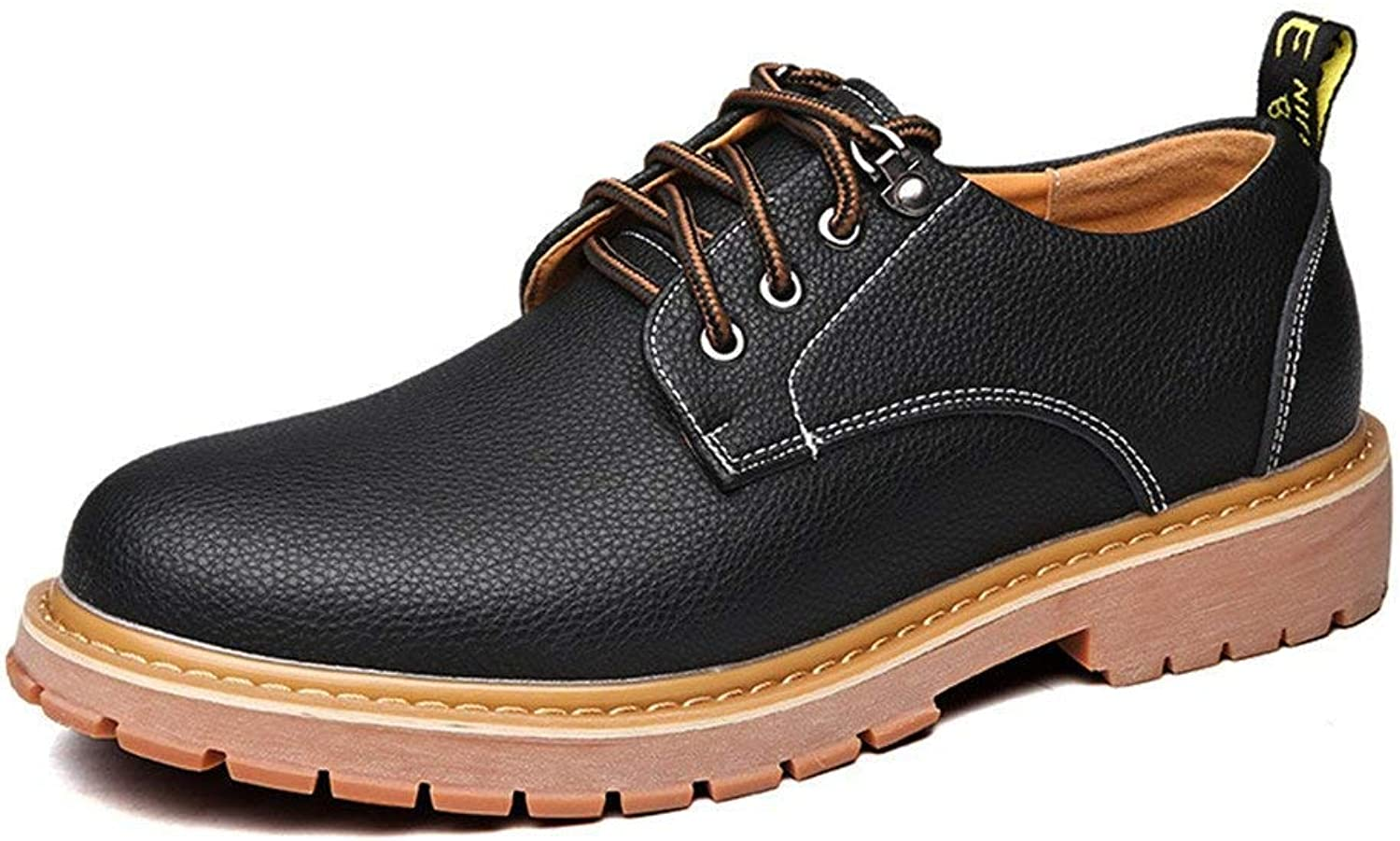 Oudan 2018 Men's shoes PU Leather Casual Lace up Big Soft Sole Flats for Men (color  Brown, Size  42 EU) (color   Black, Size   43 EU)