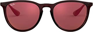 Ray-Ban RB4171F Erika Round Asian Fit Sunglasses, Brown/Dark Red Mirror, 54 mm