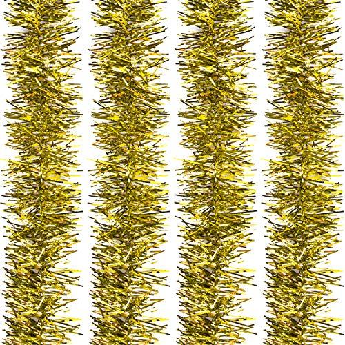 Fodlon 4 Stück Weihnachten Metallisch Lametta Girlande, 2M Weihnachtsbaum Lametta, Glänzend Christmas Tinsel für Weihnachts Hochzeit Geburtstag Party Dekoration (Gold)