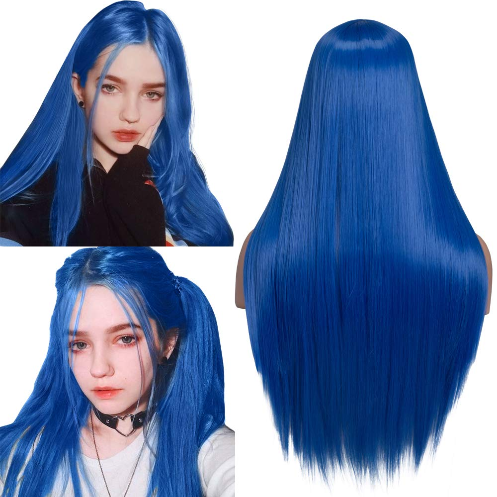 fani 24 inch Blue Raleigh Mall Long Straight Wig Wigs New products, world's highest quality popular! Middle Synthetic f Part