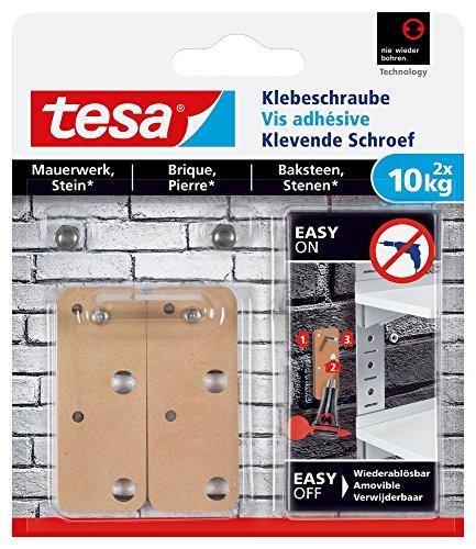 tesa Klebeschraube für Mauerwerk und Stein, Halteleistung 10 kg, viereckig, 2 Stück