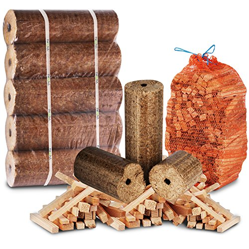 The Log Hut FIRE PIT, CHIMINEA & STOVE BURNER STARTER PACK- Extra Large Wood Heat Fuel Logs + 3kg Kindling - Comes with The Log Hut Woven Sack.