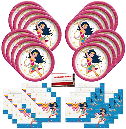DC Super Hero Girls Wonder Woman Happy Birthday Party Supplies Bundle Pack for 16 Guests (Plus Party Planning Checklist by Mikes Super Store)