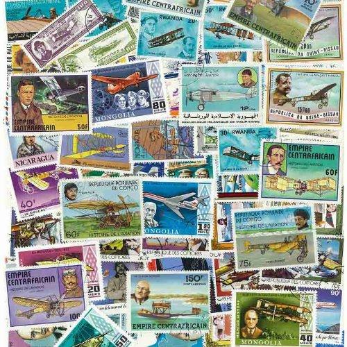 Philatema - Collezione da 100 francobolli diversi, tutti timbrati, tema: aerei