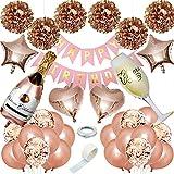 MTaoyac Geburtstagsdeko Rosegold Luftballons,Mädchen Frauen Geburtstag Deko,Happy Birthday Girlande Decorations ,Rosegold Konfetti Balloon.
