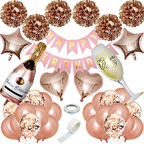 MTaoyac Geburtstagsdeko Rosegold Deko,Happy Birthday Girlande Decorations Balloon,Rosegold Konfetti Luftballons, Mädchen Frauen Geburtstag Party Deko