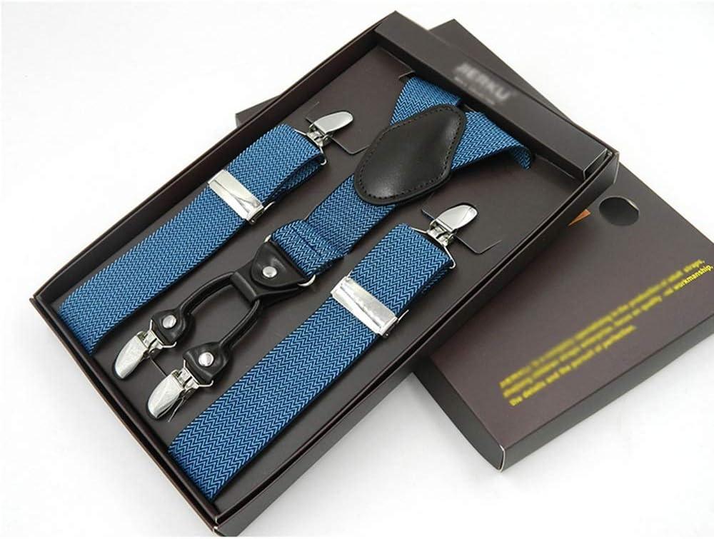 ZYDP Men's Heavy Duty 4 Clip Wide Elastic Adjustable Y Back Suspender (Color : C)