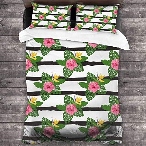 AEMAPE 86'x70' Juego de Cama Microfibra 100% Suave Flores y Hojas Tropicales Bedding Sábanas Pareja DE Almohadas