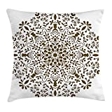 JIMSTRES Mandala Throw Pillow Cushion Cover, Abstract Art Style Vector Illustration of Mandala Flower on White Background, Decorative Square Accent Pillow Case, Brown and White 16x16 inches