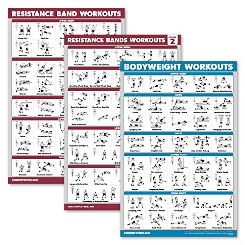 Palace Learning 3 Pack: Resistance Bands Workouts Volume 1 & 2 + Bodyweight Exercises Poster Set - Set of 3 Workout Charts (Laminated, 18' x 27')
