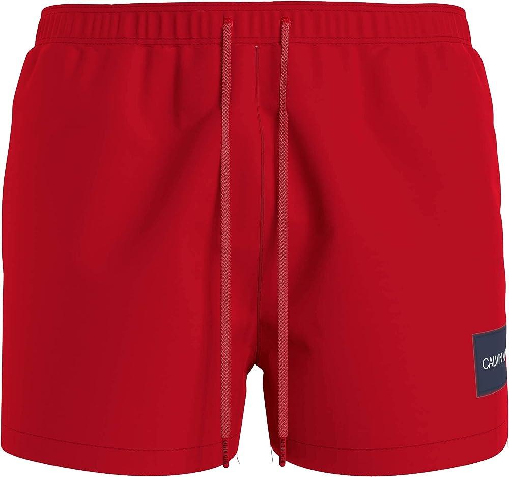 Calvin klein short drawstring,  costume a pantaloncino per uomo, 100% poliestere KM0KM00577