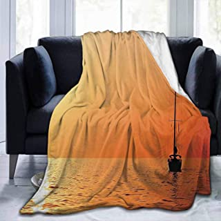 dsdsgog Flannel Throws Blankets Durable Bed Couch Sailboat,Lonely Yacht at Sunset Sailing Competition Race Teamwork Marine Vessel Winner,Orange Yellow,60