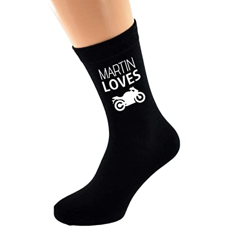 PERSONALISED NAME Loves Riding Motorbike Image printed Mens Black Cotton Socks