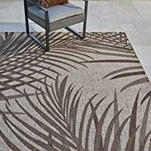 Gertmenian 21953 Outdoor Rug Freedom Collection Coastal Themed Smart Care Deck Patio Carpet, 8x10 Large, Royal Palm Leafs Tan