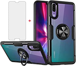 Phone Case for Huawei P20 with Tempered Glass Screen Protector Clear Cover and Stand Ring Holder Slim Hard Cell Accessorie...