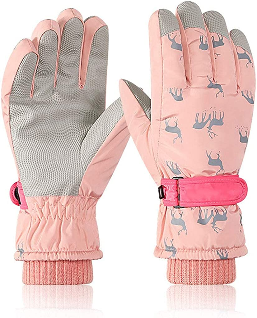 hangZUYy Kids Ski Gloves, Thermal Plush Lined Gloves, Waterproof Windproof Winter Warm Gloves for Skiing/Cycling Children Mittens