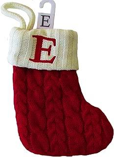 St. Nicholas Square Mini Cable Knit Stocking-Letter E, Mini 7