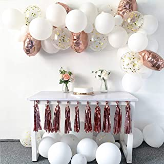 Rose Gold Balloon Arch Kit, 53 Pcs Diy Rose Gold&White Balloon Garland Arch for Birthday Balloon Supplies, Wedding Decoration