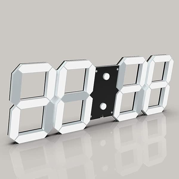 CHKOSDA 3D Digital Wall Clock 6 LED Numbers Countdown Clock Remote Control Ultra Thin Design Large Calendar Auto Dimmer 8 Level Adjustable Brightness Office Clock Black Shell White