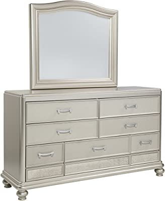 Ashley Furniture Signature Design - Coralayne Dresser & Beveled Mirror - Traditional Glam Chest of Drawers - Silver