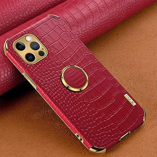Hadwii iPhone 11 - Carcasa de piel sintética con anillo de rotación de 360 grados, soporte delgado, suave, diseño de cocodrilo, antigolpes, antiarañazos, TPU para iPhone 11, color rojo