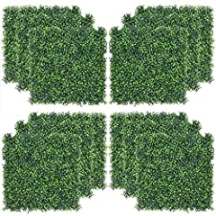 "Realistic & Thick Artificial Hedge: Show a more realistic appearance through 12PCS 2""(50mm) tall and 4 layers of leaves, (not 3 layers), and our denser panels(400 stiches per tile panel) are not ""see through"" and offer better privacy Hedges. It has U..."