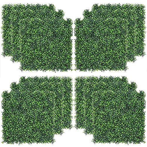 Sunnyglade 12PCS 20x20inch Artificial Boxwood Panels Topiary Hedge Plant, Privacy Hedge Screen UV Protected for Outdoor Indoor Garden Fence Backyard