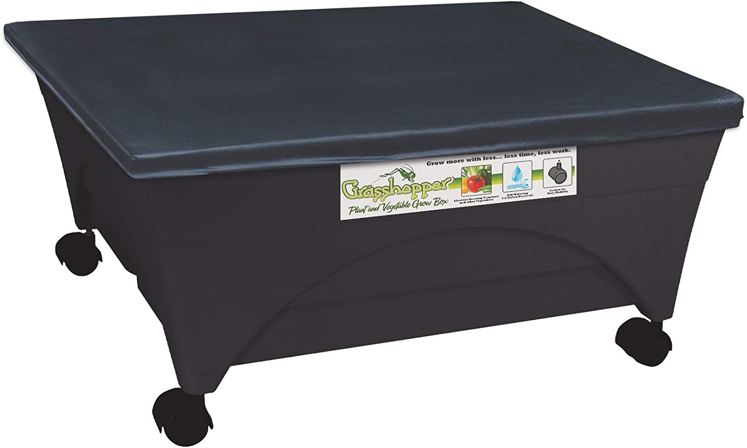 Emsco Group 2377 Grasshopper Raised Bed Self Watering-with Casters-Black Grow Box