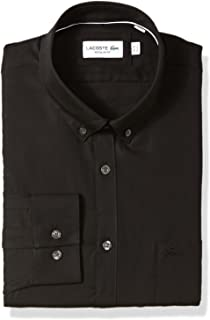 Lacoste Men's Long Sleeve with Pocket Mini Pique Regular Fit Woven Shirt, CH9623