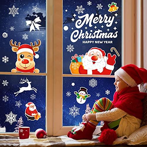 Vetrofanie Natale, Telgoner 171 PZ Adesivi Natale Decorazioni Natalizie Finestre, Fiocco di Neve Stickers Natalizi per Finestre Vetro, PVC Rimovibile Natale Decorazioni Casa Interno(Bianche,Colorate)