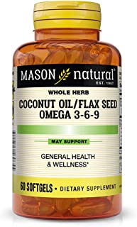 Mason Natural, Omega 3-6-9 from Vegetable Source, Soft Gels, 60 Count, Dietary Supplement with Omega Fatty Acids from Coconut Oil and Flax Seed, Supports Heart and Joint Health
