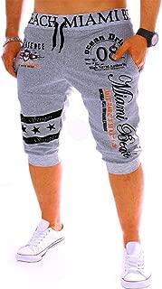 ALOVEMO Men's Sport Pants, Mens Fashion New Printing Shorts Drawstring Elastic Waist Casual Loose Jogger Trouser